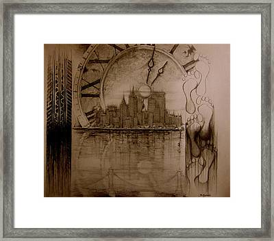 Framed Print featuring the drawing Rush Hour by Geni Gorani