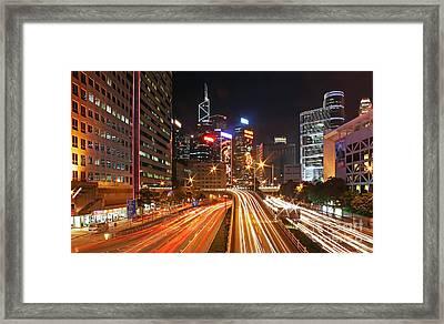 Rush Hour In Hong Kong Framed Print by Lars Ruecker