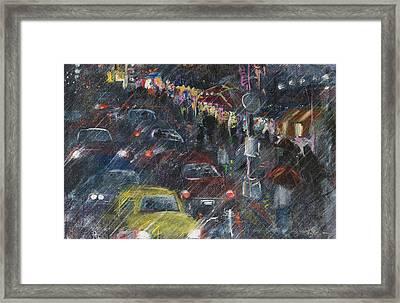 Rush Hour Rain  Framed Print by Leela Payne
