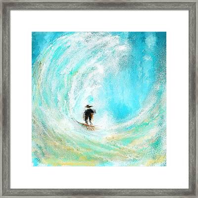 Rushing Beauty- Surfing Art Framed Print by Lourry Legarde