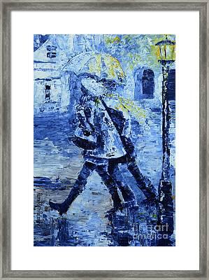 Rushing In The Rain  Framed Print by Roni Ruth Palmer