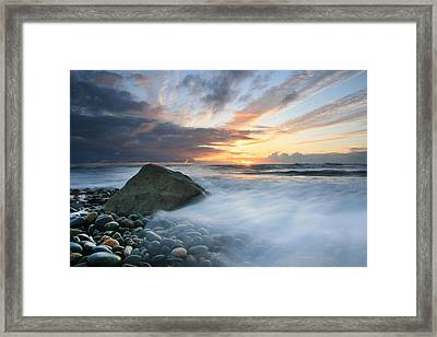 Rushing Water Sunset Framed Print