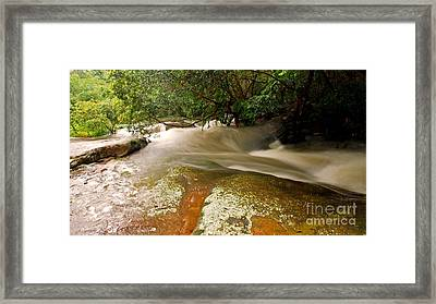 Rushing Waters In A Rocky Creek Framed Print by Justin Woodhouse