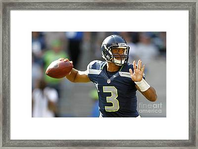 Russell Wilson 2014 Super Bowl Painting Framed Print by Marvin Blaine