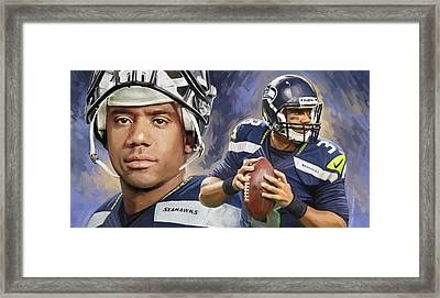 Russell Wilson Artwork Framed Print by Sheraz A