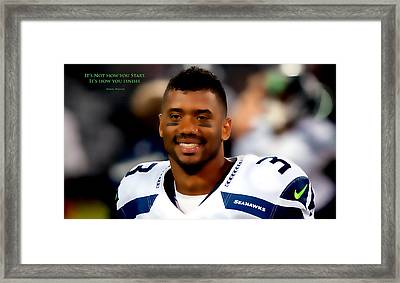 Russell Wilson Quote Framed Print by Brian Reaves
