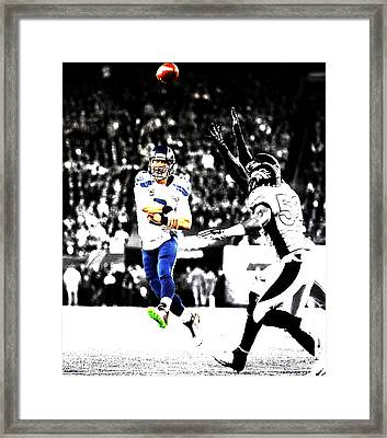 Russell Wilson Running Pass Framed Print by Brian Reaves