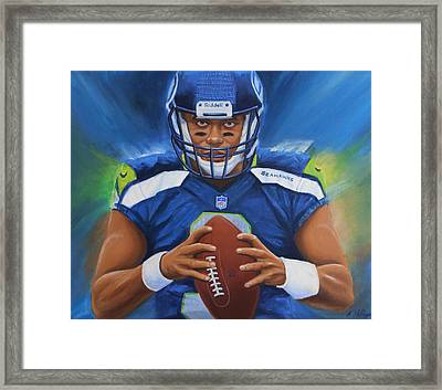 Russell Wilson Seattle Seahawks Framed Print by Angie Villegas