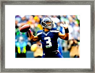 Russell Wilson Smooth Delivery Framed Print by Brian Reaves