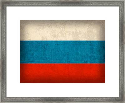 Russia Flag Distressed Vintage Finish Framed Print by Design Turnpike