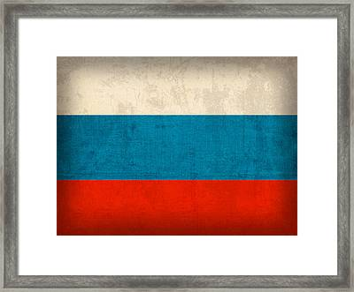 Russia Flag Vintage Distressed Finish Framed Print by Design Turnpike