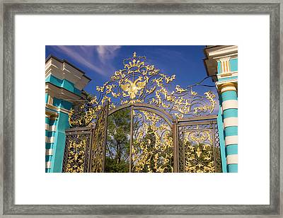Russia, Pushkin Gate Detail And Support Framed Print
