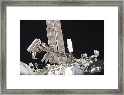Russian Cosmonauts Working Framed Print by Stocktrek Images