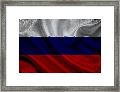 Russian Flag Waving On Canvas Framed Print