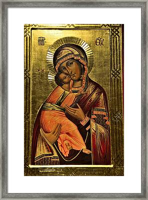 Russian Icon  Our Lady Of Vladimir Framed Print
