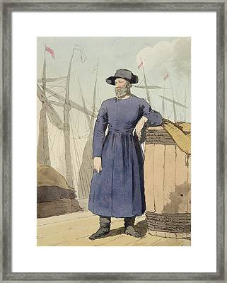 Russian Merchant, Etched By The Artist Framed Print by John Augustus Atkinson