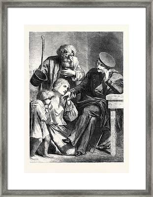 Russian Noble And Serfs From A Drawing By Yvon Framed Print by English School