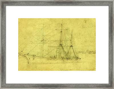 Russian Ship, Between 1860 And 1865, Drawing On Cream Paper Framed Print