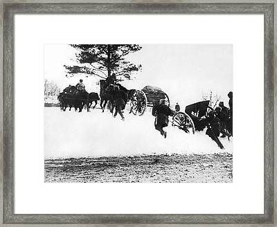 Russian Troops In The Snow Framed Print by Underwood Archives