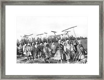 Russian Women Go To The Fields Framed Print
