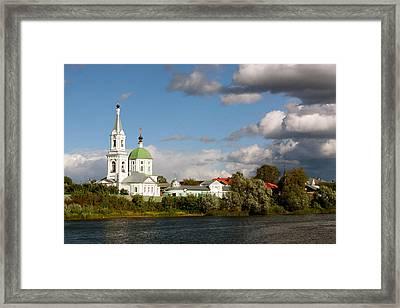 Russian_church_volga-river Framed Print by Elena Ouspenskaia