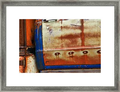 Rust And Blue Framed Print