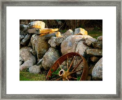 Rust And The Mending Wall Framed Print by Kathy Barney