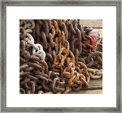 Rust Chains Framed Print by Lora Lee Chapman