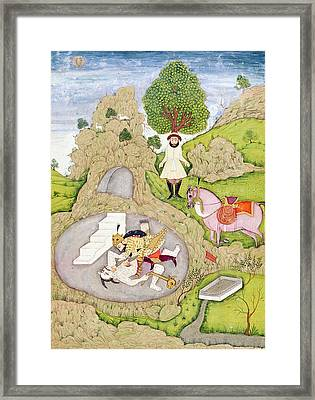 Rustam Killing The White Demon, From The Shahnama Book Of Kings Framed Print
