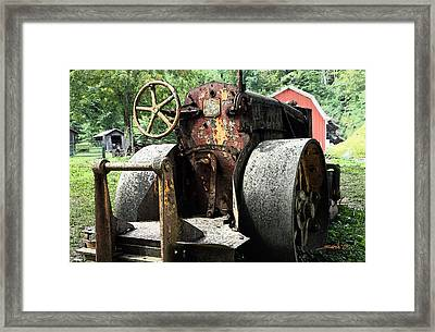 Rusted Buffalo Springfield Roller - Red Barn Framed Print