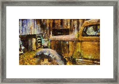 Rusted Truck In Autumn Framed Print by Dan Sproul