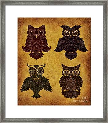 Rustic Aged 4 Owls Framed Print by Kyle Wood
