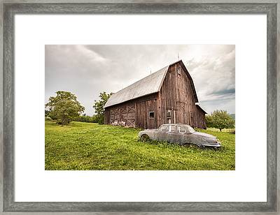 Framed Print featuring the photograph Rustic Art - Old Car And Barn by Gary Heller
