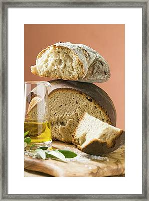 Rustic Bread, Two Loaves With Pieces Cut Off, Olive Oil, Salt Framed Print