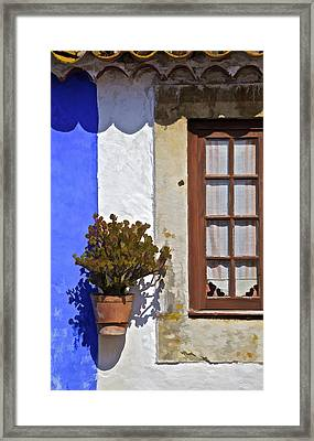 Rustic Brown Window Of The Medieval Village Of Obidos Framed Print by David Letts