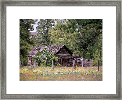 Rustic Cabin In The Mountains Framed Print by Athena Mckinzie