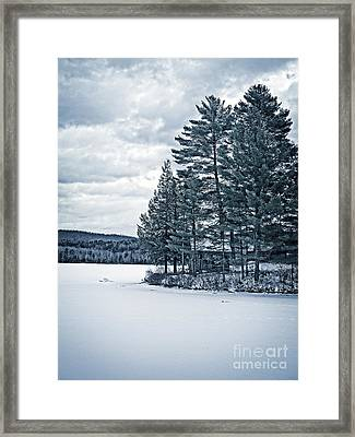 Rustic Cabin On The Pond Framed Print by Edward Fielding