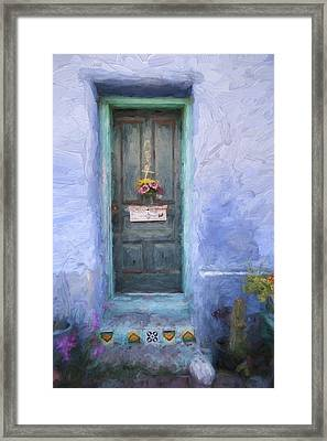 Rustic Door In Tucson Barrio Painterly Effect Framed Print by Carol Leigh