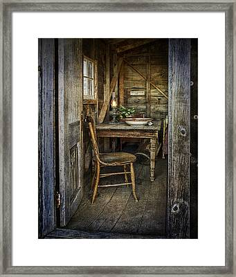 Rustic Doorway With Vintage Chair And Table Setting With Oil Lamp Framed Print