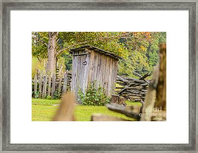 Rustic Fence And Outhouse Framed Print