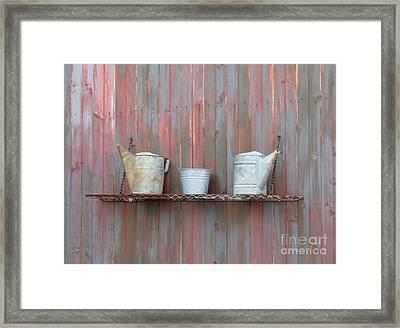 Rustic Garden Shelf Framed Print by Ann Horn