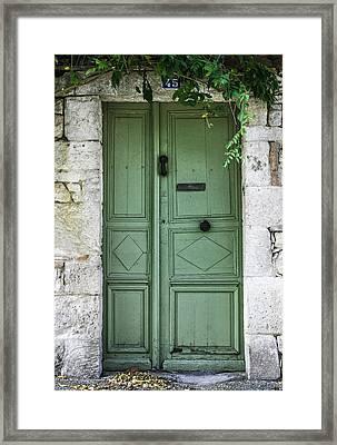 Rustic Green Door With Vines Framed Print