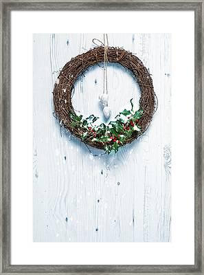 Rustic Holiday Garland Framed Print by Amanda Elwell