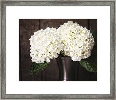 Rustic Hydrangea In A Bronze Vase With Barnwood Framed Print by Lisa Russo