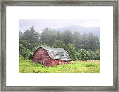 Framed Print featuring the photograph Rustic Landscape - Red Barn - Old Barn And Mountains by Gary Heller