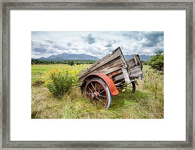 Rustic Landscapes - Wagon And Wildflowers Framed Print by Gary Heller