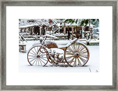 Rustic Motorcycle Metal Art Framed Print