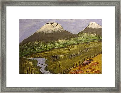Rustic Mountain Scene Framed Print by Keith Nichols