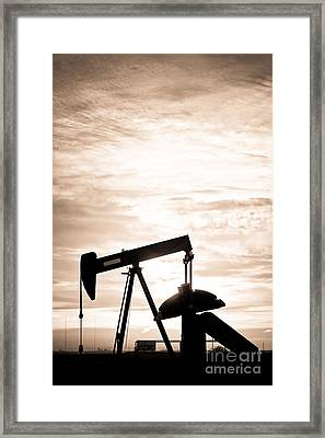 Rustic Oil Well Pump Vertical Sepia Framed Print by James BO  Insogna
