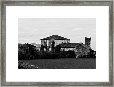 Rustic Outbuildings In A Field  Framed Print